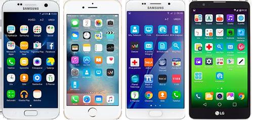 Mobilni telefoni z izbrano dodatno opremo